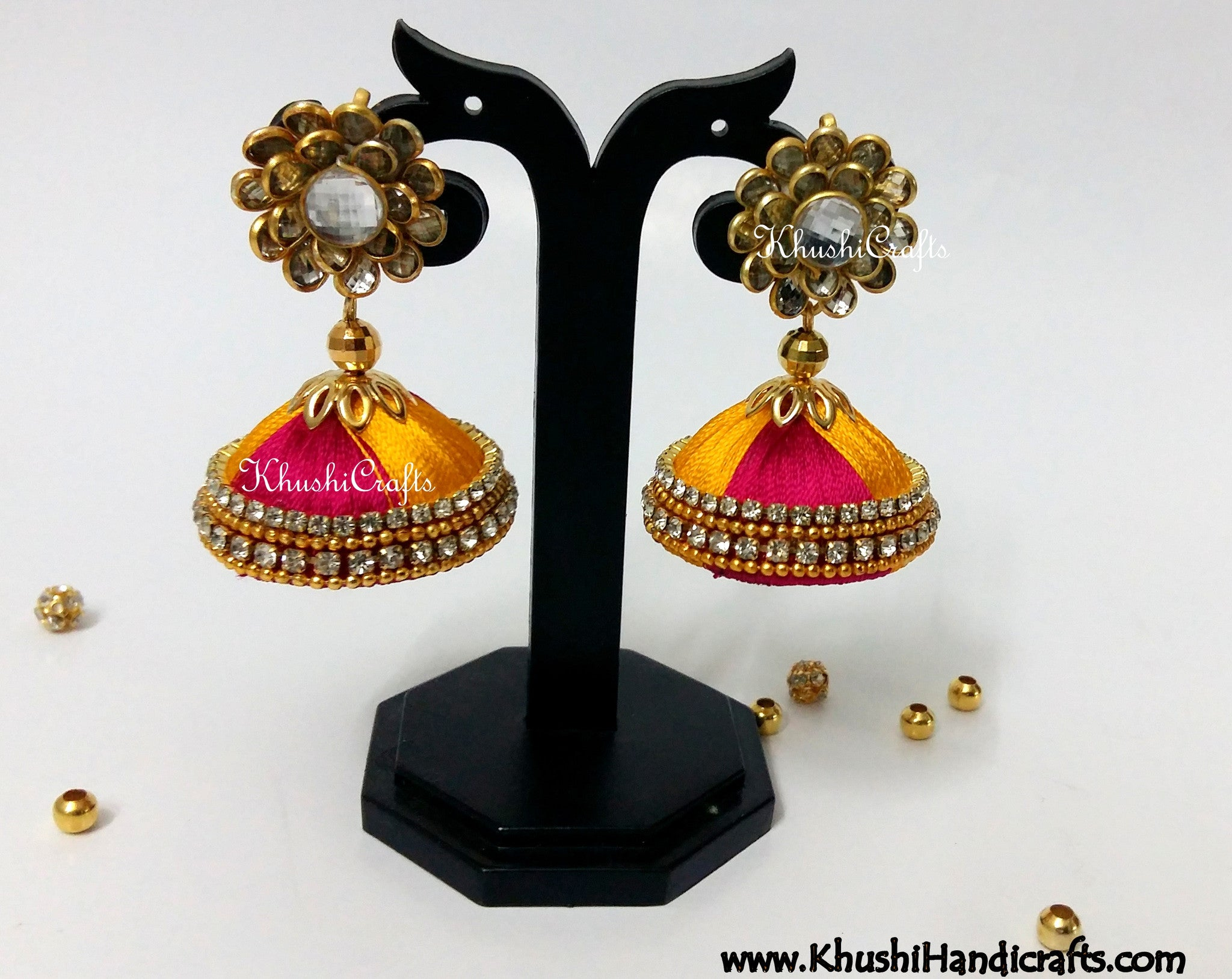 Magenta Yellow Silk Jhumkas With Pachi Stud