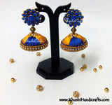 Blue Yellow Silk Jhumka With Pachi Stud - Khushi Handmade Jewellery