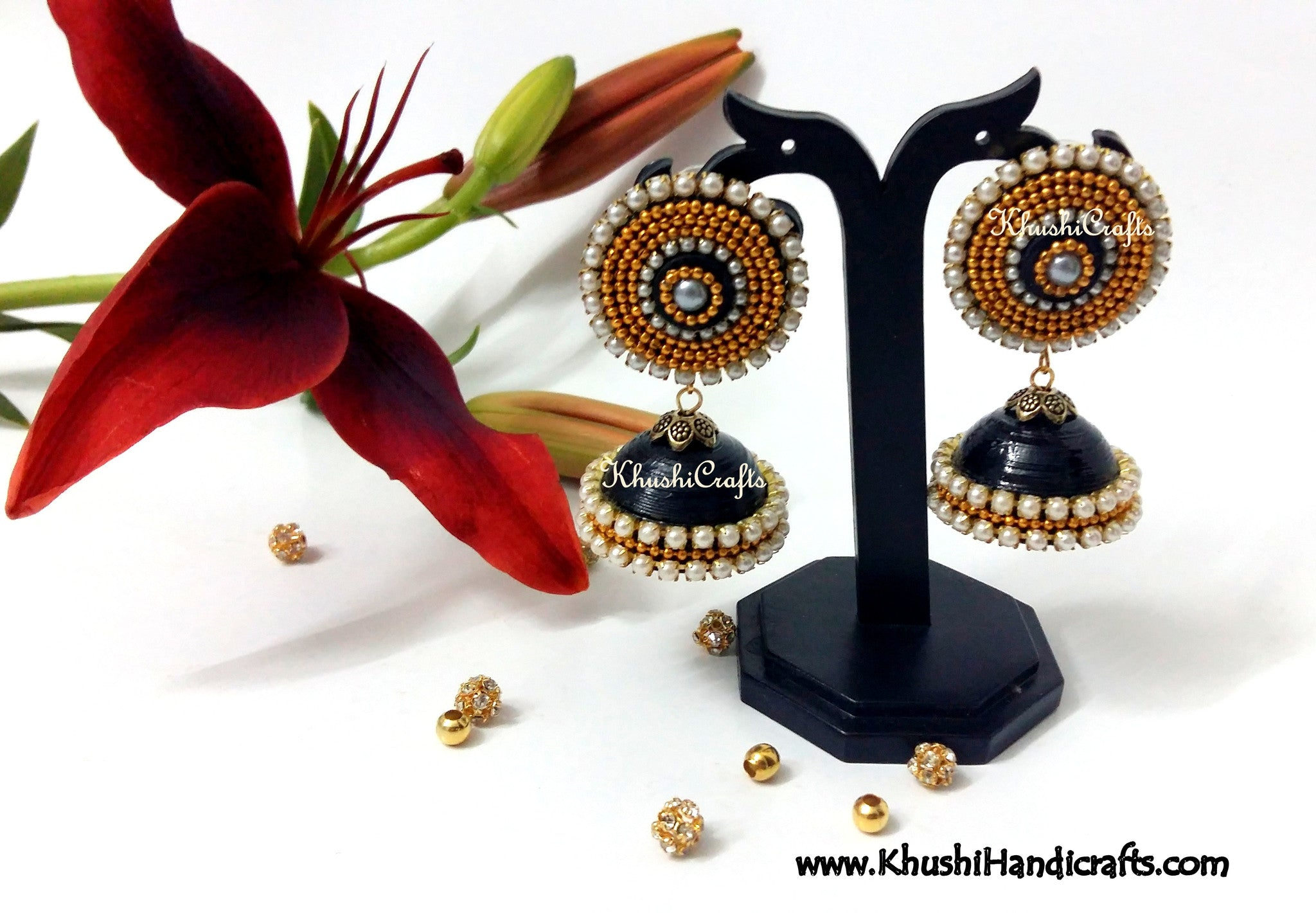 Aconitum Quilled Jhumkas in Black,Blue,Green,Pink
