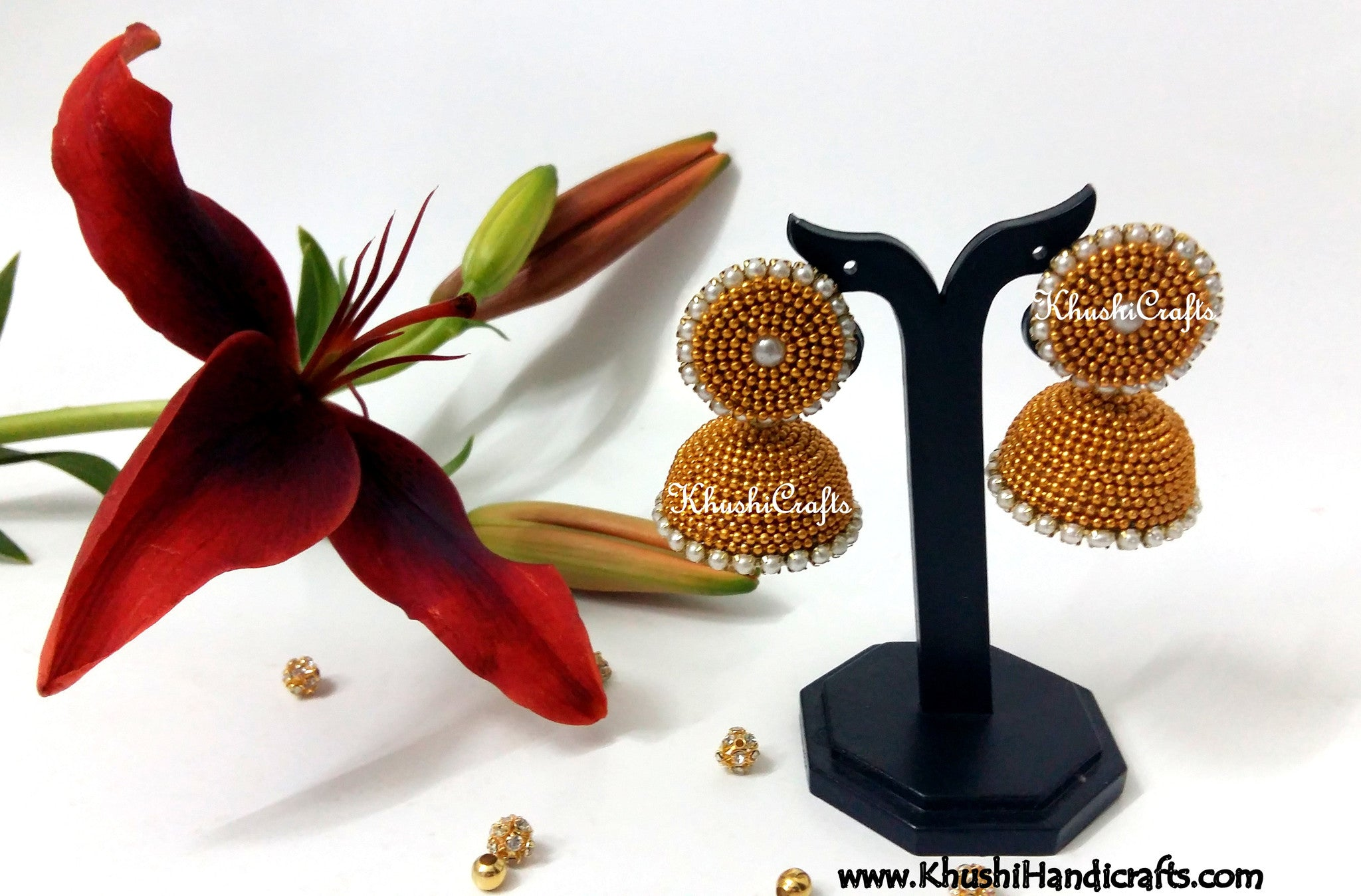 Gold Ball Jhumkas - Khushi Handmade Jewellery