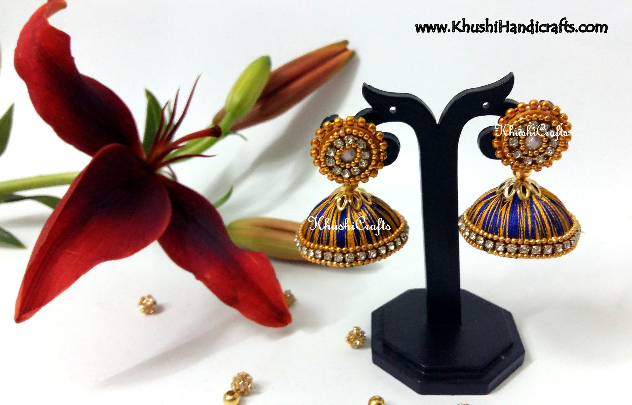 Blue Yellow Silk Jhumka