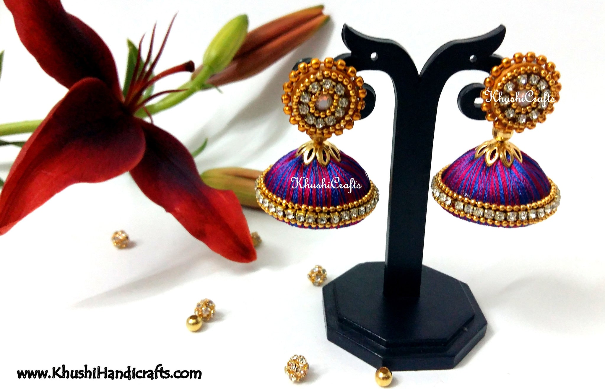 Blue Magenta Silk Thread Jhumka