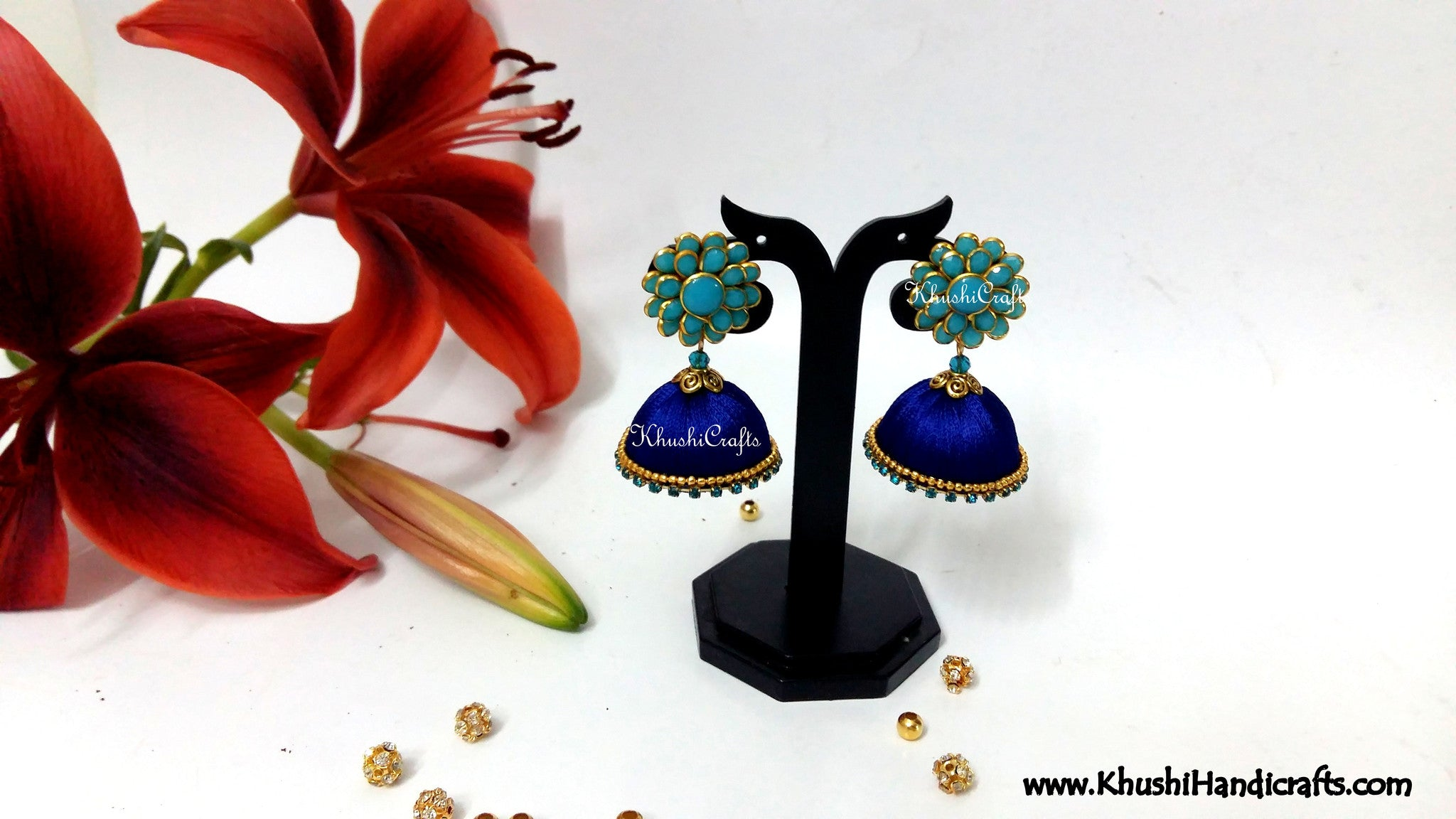 Blue Silk thread Jhumka With Pacchi Stud