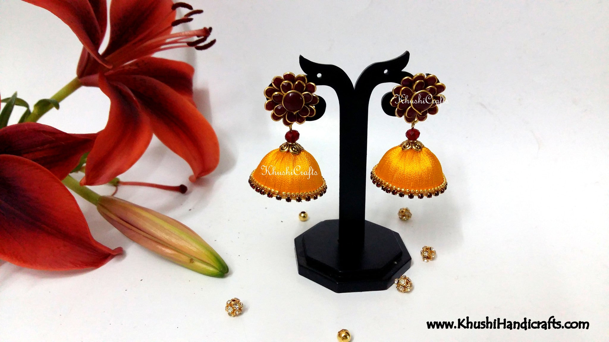 Yellow Silk Jhumka With Maroon Pacchi Stud - Khushi Handmade Jewellery