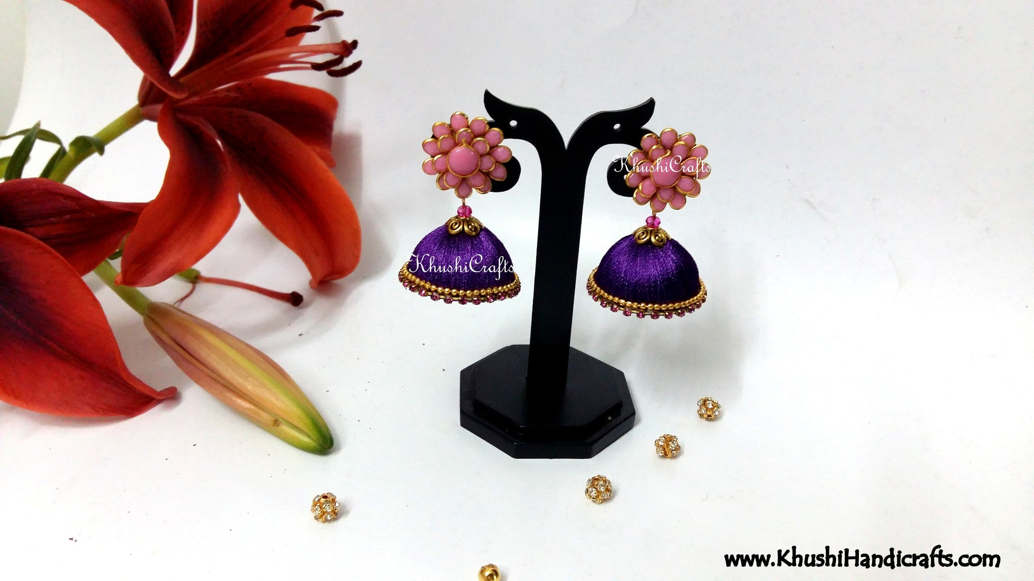 Purple Silk Jhumka With Pink Pacchi Stud - Khushi Handmade Jewellery