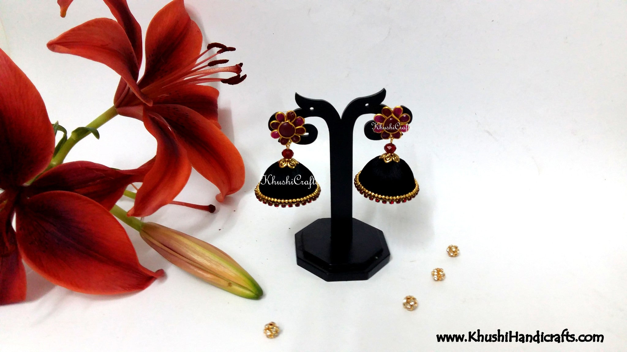 silk thread jhumkas With Maroon Pachi Stud