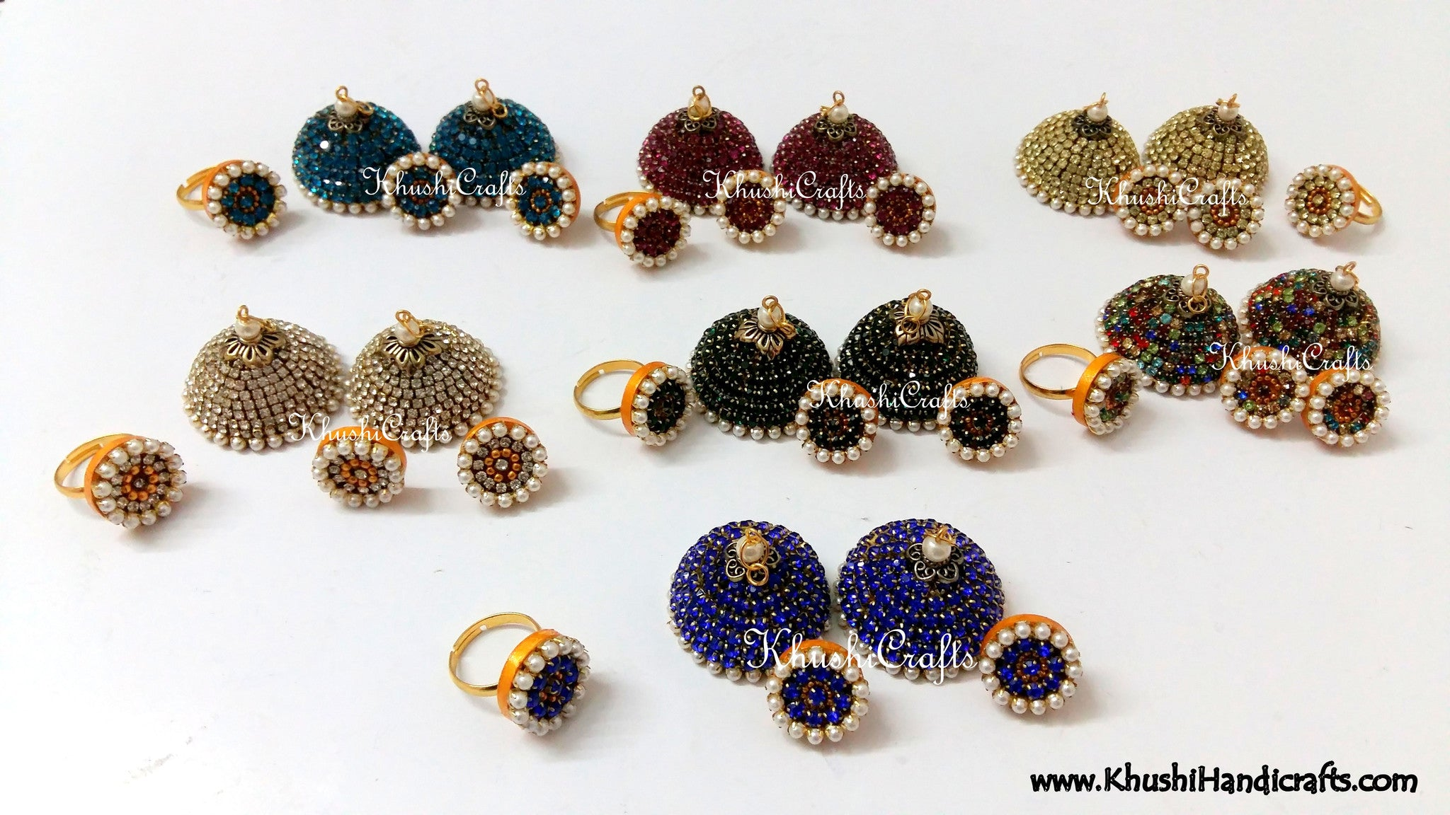 Stone studded Silk Jhumkas with Finger ring - Khushi Handmade Jewellery