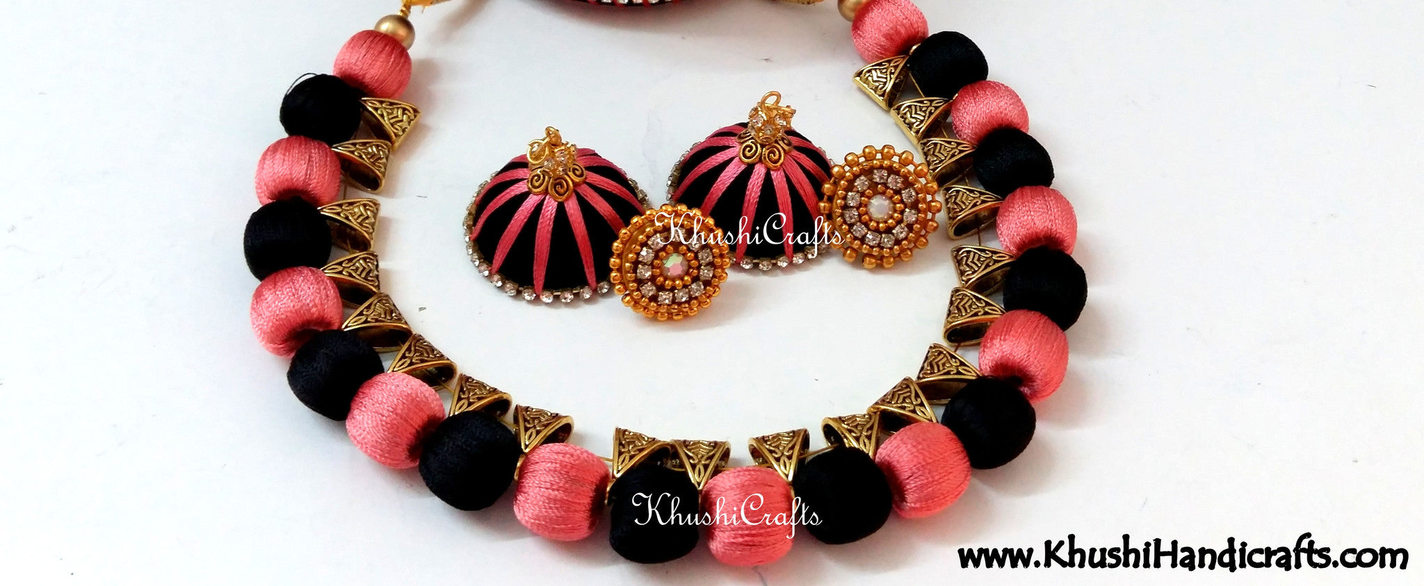 Silk Beads Necklace set in Black and Peach - Khushi Handmade Jewellery