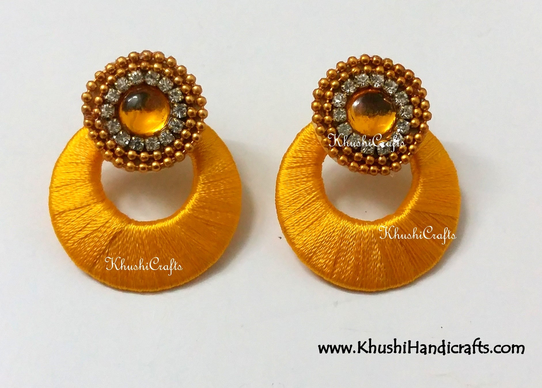 Silk thread Chandbali earrings