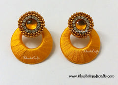 Chandbali Silk Handcrafted earrings - Khushi Handmade Jewellery