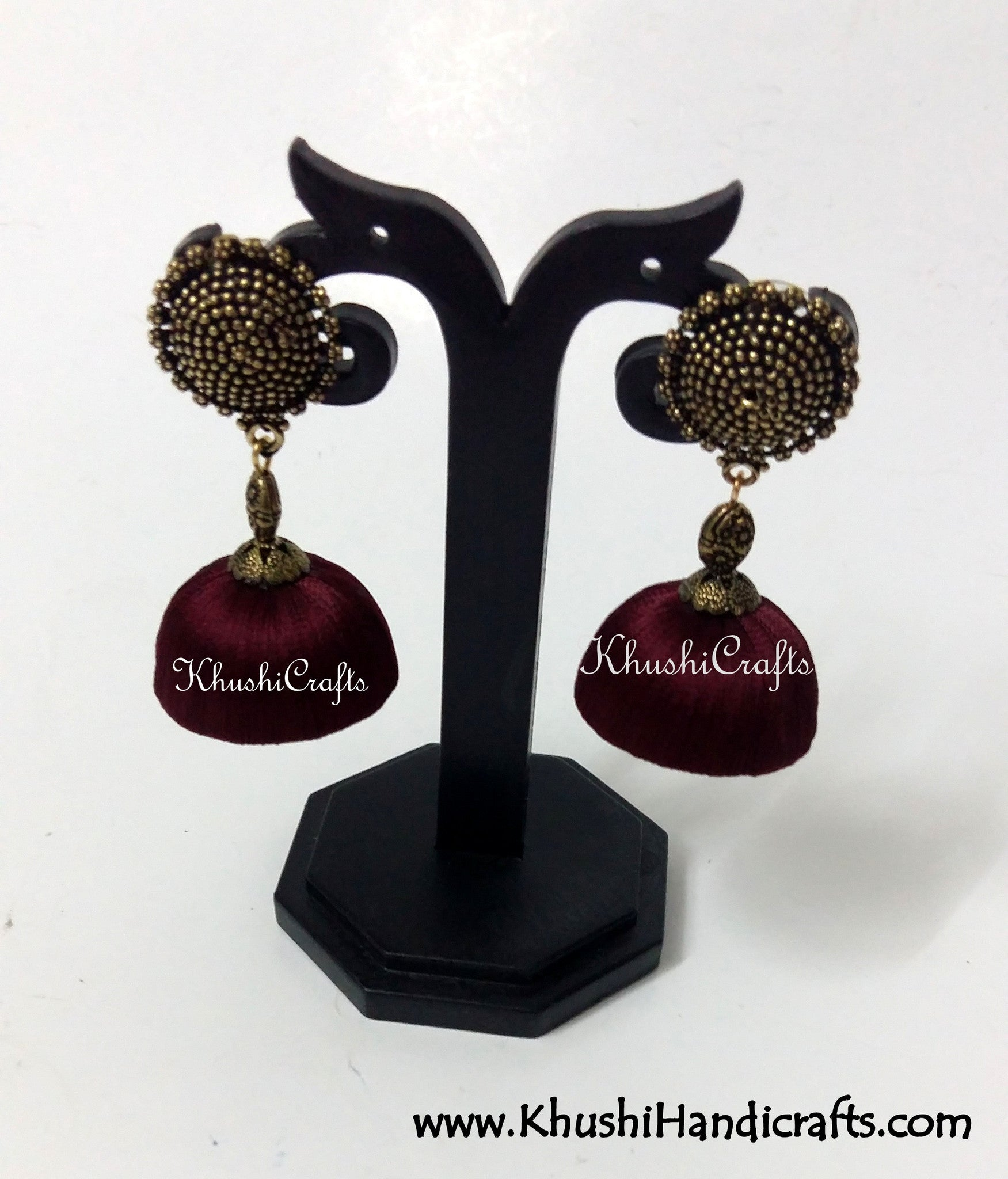 Silk Jhumkas with Metal Stud - Khushi Handmade Jewellery