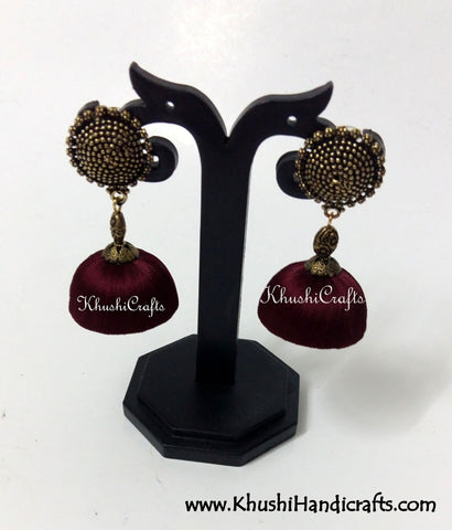 Silk Jhumkas with Metal Stud