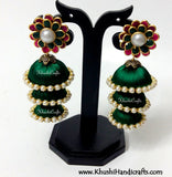 Green Cascaded Jhumkas in Silk with Pachi Stud