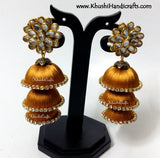 Gold Cascaded Jhumkas in Silk with Pachi Stud