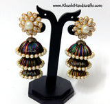 Multicoloured Cascaded Jhumkas in Silk with Pachi Stud