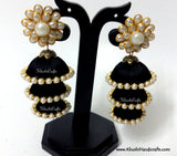 Black Cascaded Jhumkas in Silk with Pachi Stud