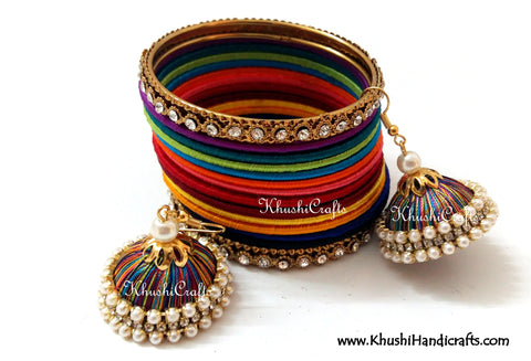 Rainbow Silk Bangles and Jhumka