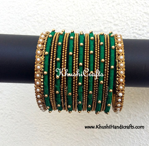Dark Green Designer Silk Bangles