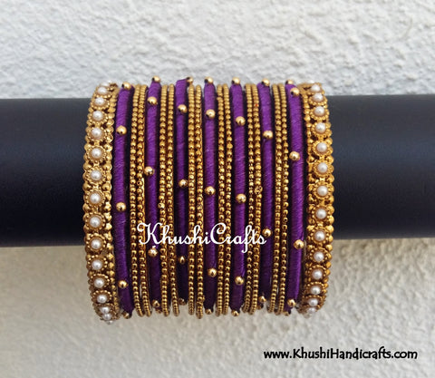 Purple Designer Silk Bangles