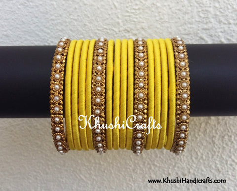 Yellow Designer Silk Bangles