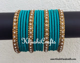 Light Blue Designer Silk Bangles - Khushi Handmade Jewellery