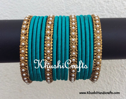 Light Blue Designer Silk Bangles