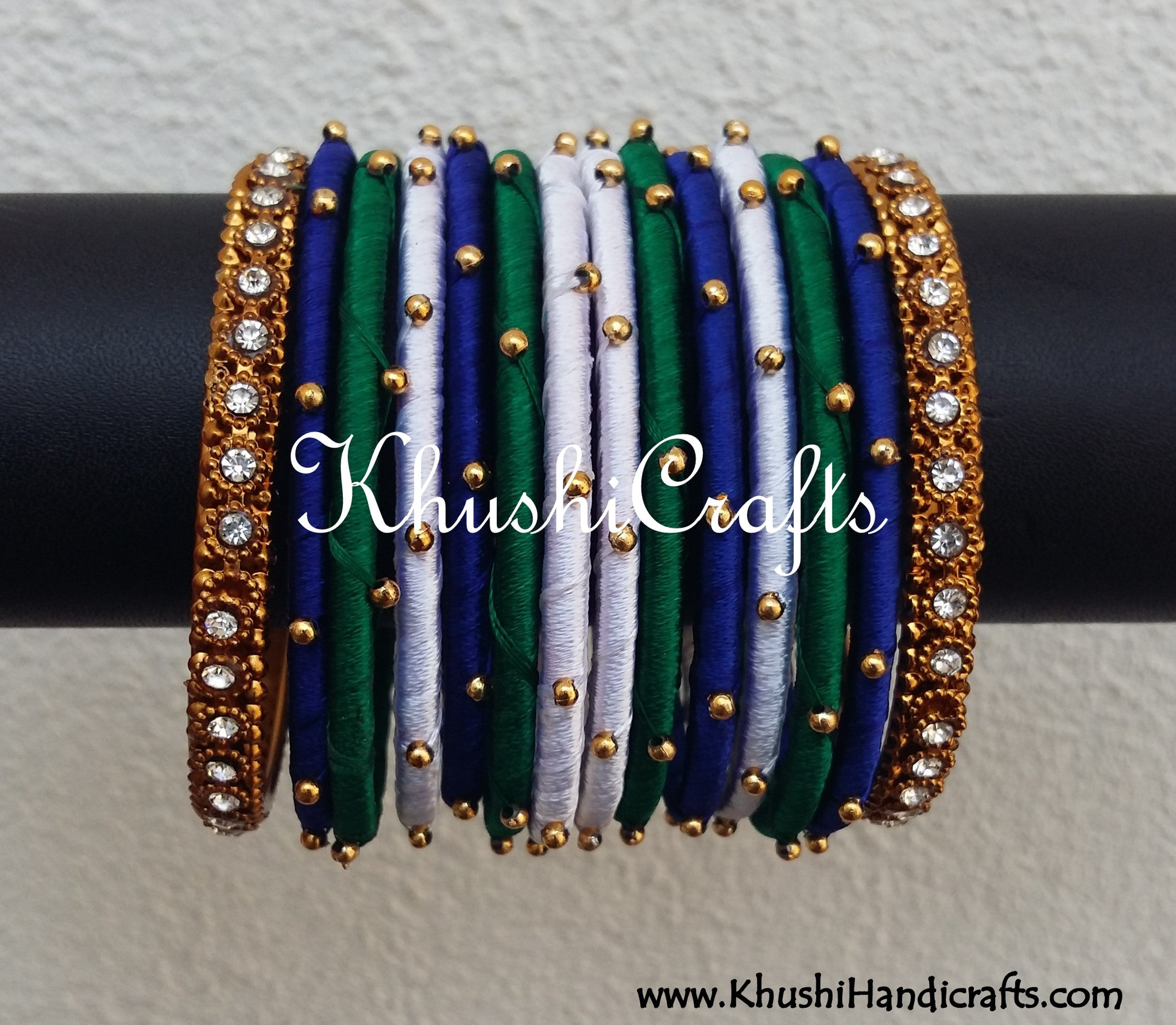 Hand-crafted exquisite Silk Bangles in Green,White and Blue - Khushi Handmade Jewellery