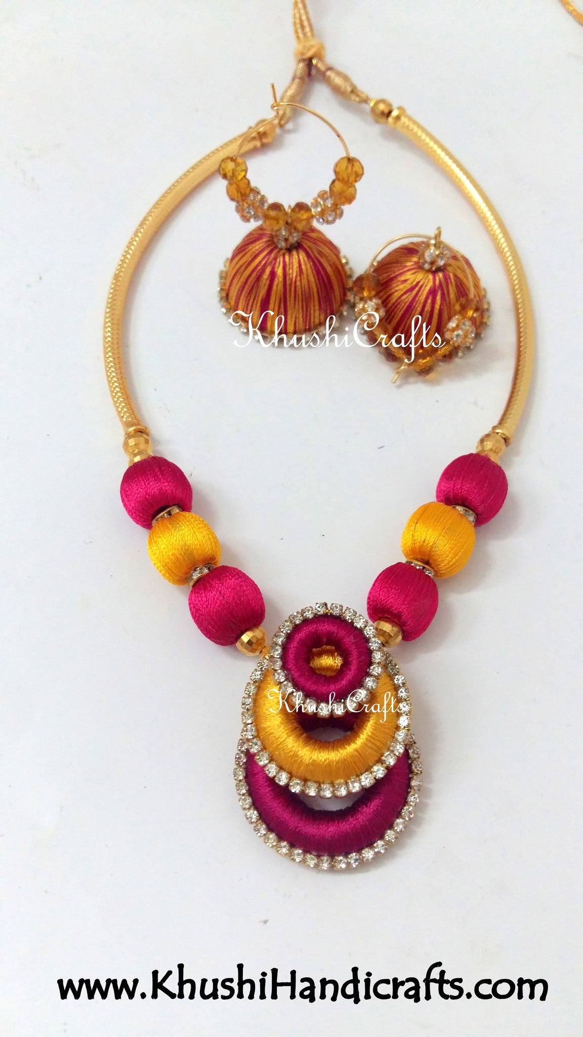 Double coloured Necklaces in Silk thread jewellery - Khushi Handmade Jewellery