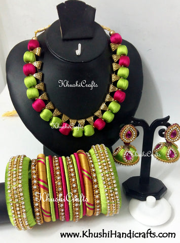 Silk Thread Bridal Collection Necklace set with Bangles in Blue and Pink