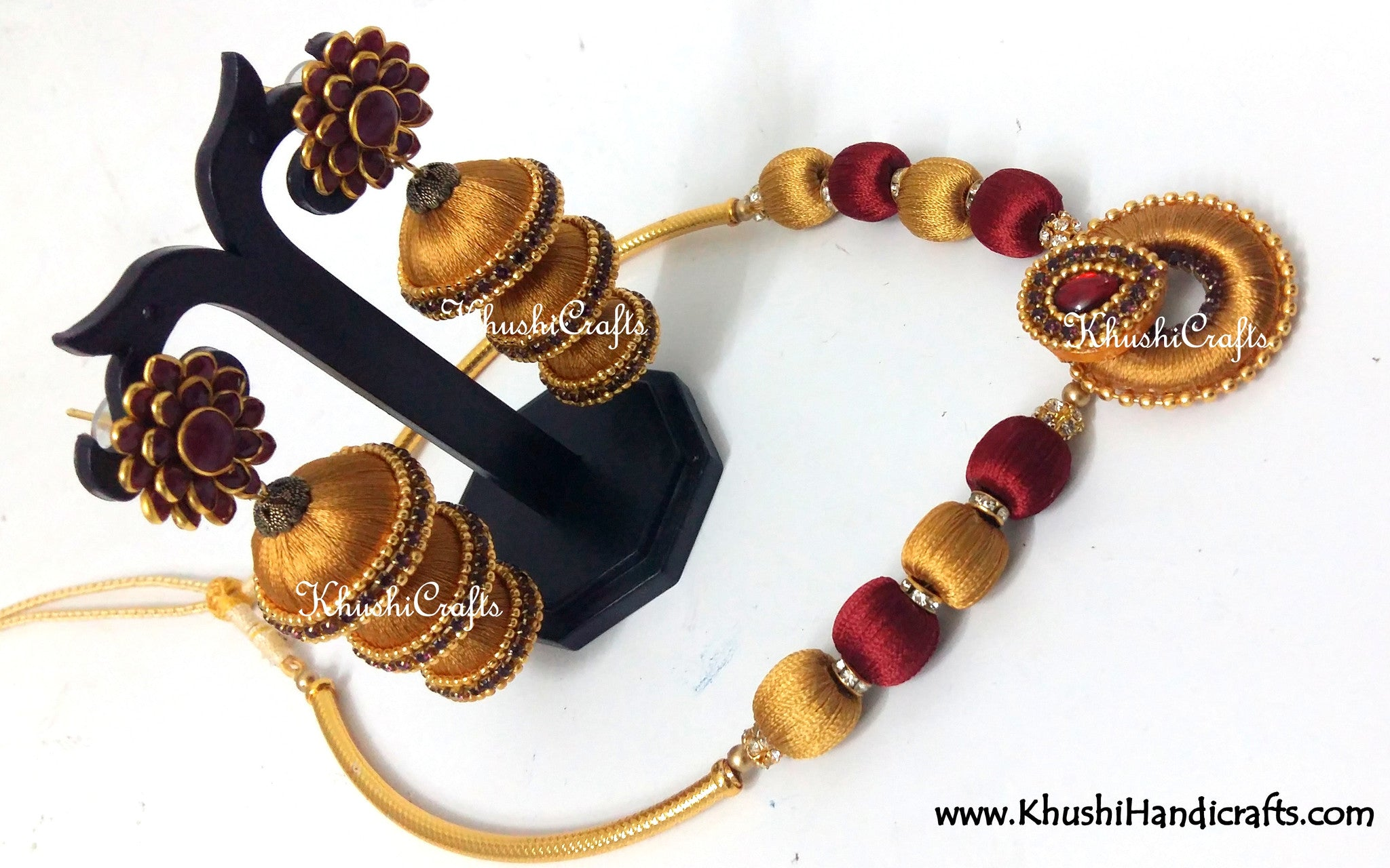 Golden and Maroon Silk Necklace set - Khushi Handmade Jewellery