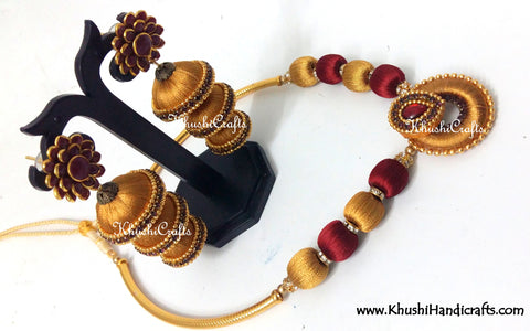 Golden and Maroon Silk Necklace set
