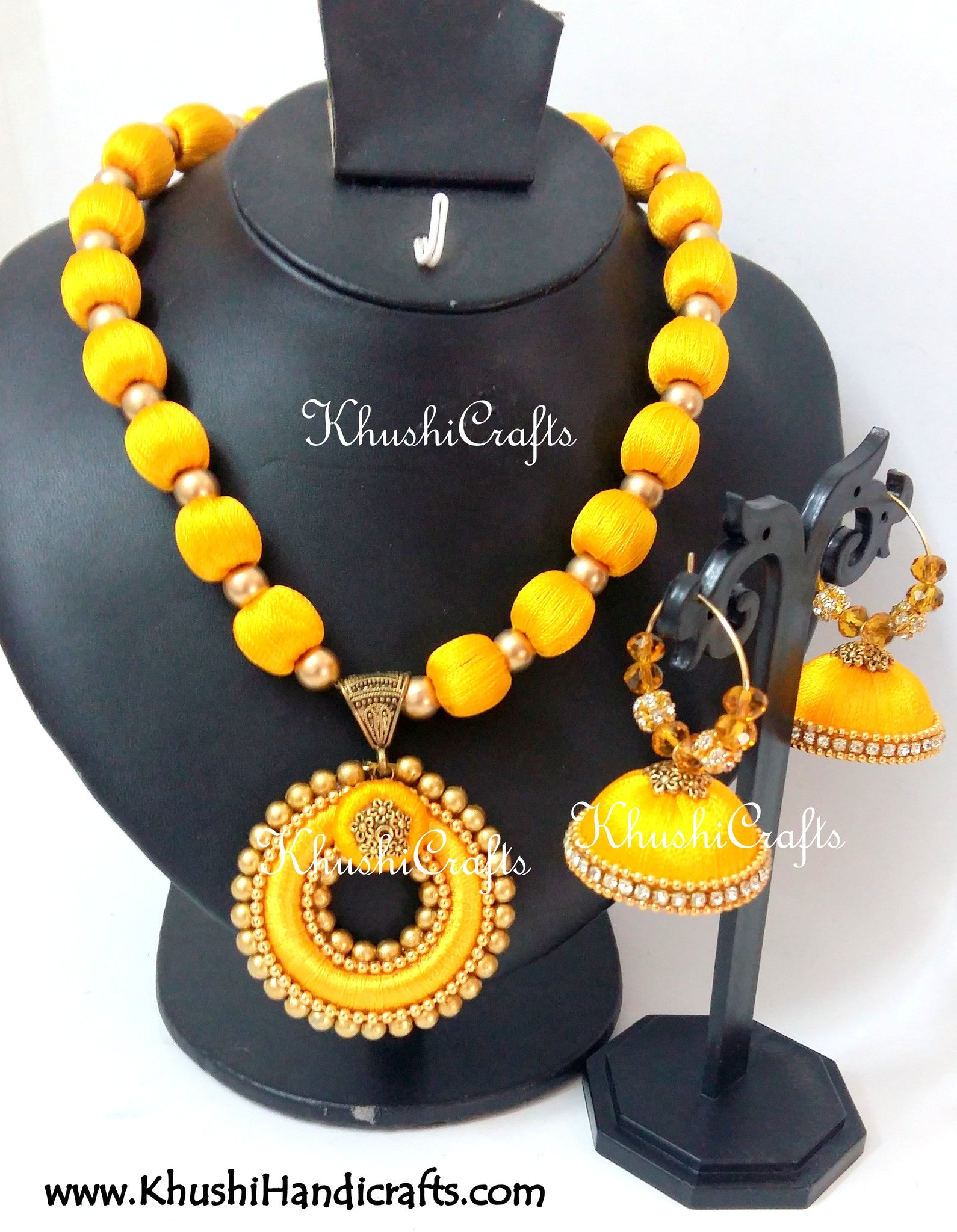 Yellow Silk Thread Bridal Necklace set - Khushi Handmade Jewellery