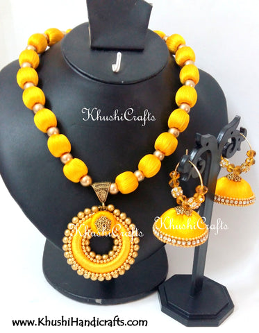 Yellow Silk Thread Bridal Necklace set
