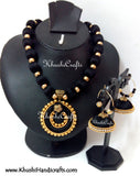 Black Silk Thread Jewellery Bridal Necklace set