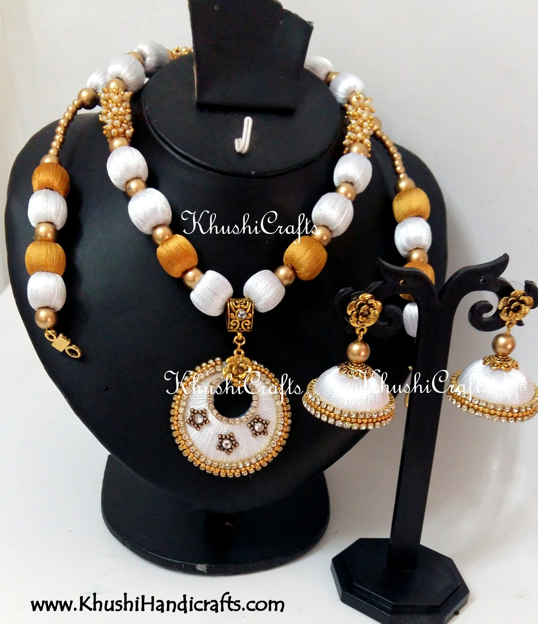 White and Gold Silk Thread Bridal Necklace set - Khushi Handmade Jewellery