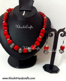 Red Silk and German silver Beads Amalgamated Necklace - Khushi Handmade Jewellery