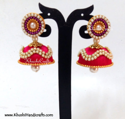 Silk Jhumkas with Pearl work