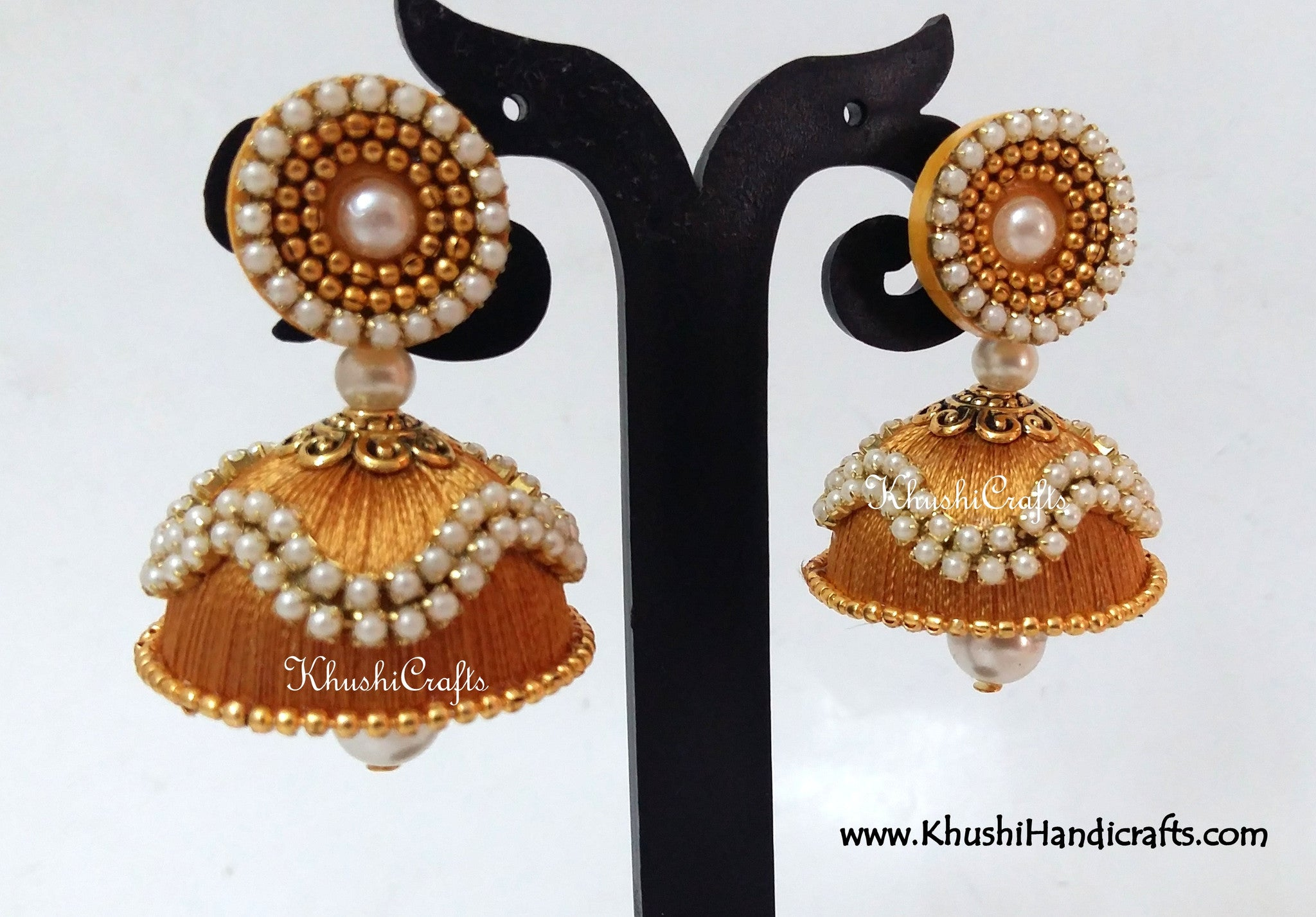 Silk Jhumkas with Pearl work - Khushi Handmade Jewellery