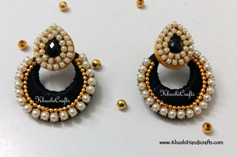 Silk Thread Chandbali with Pearl work