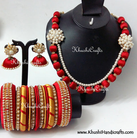 Red Silk Thread Bridal Necklace set in Moppu design