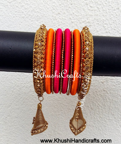 Designer Silk Thread Bangles in Magenta and Orange with Dangler Jhumka