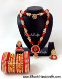 Silk Thread Haaram set with Bangles in Red - Khushi Handmade Jewellery