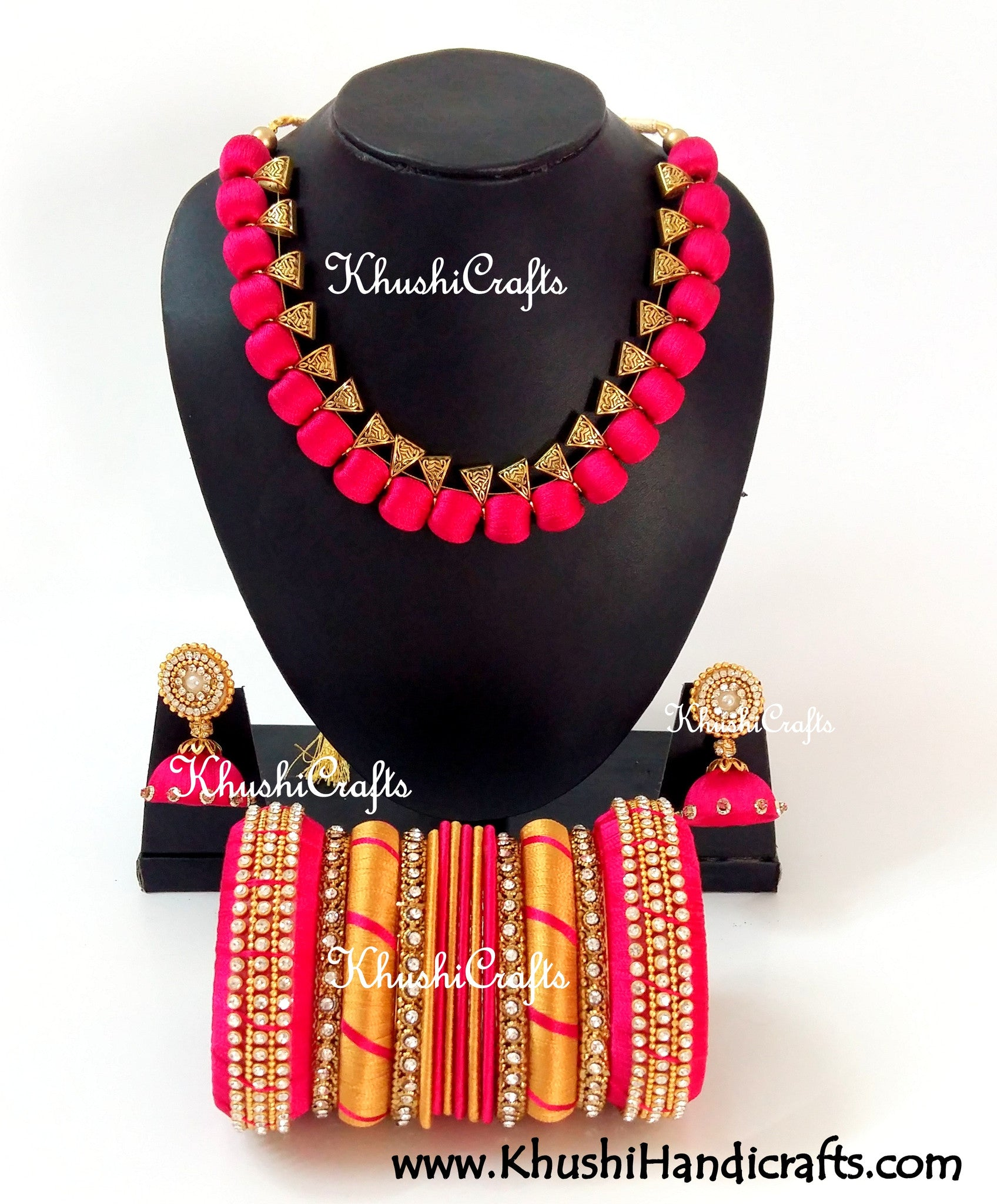Silk Thread Bridal Collection Necklace set with Bangles in Pink - Khushi Handmade Jewellery