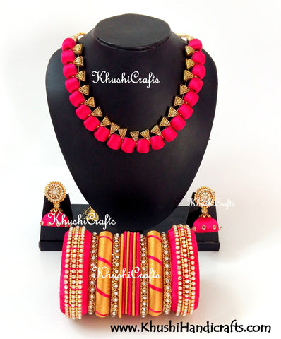 Silk Thread Bridal Collection Necklace set with Bangles in Pink