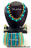 Buy Silk Thread Bridal Collection Necklace set with Bangles in Peacock shades