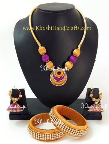 Silk Thread Neck-piece with Bangles in Gold and Purple
