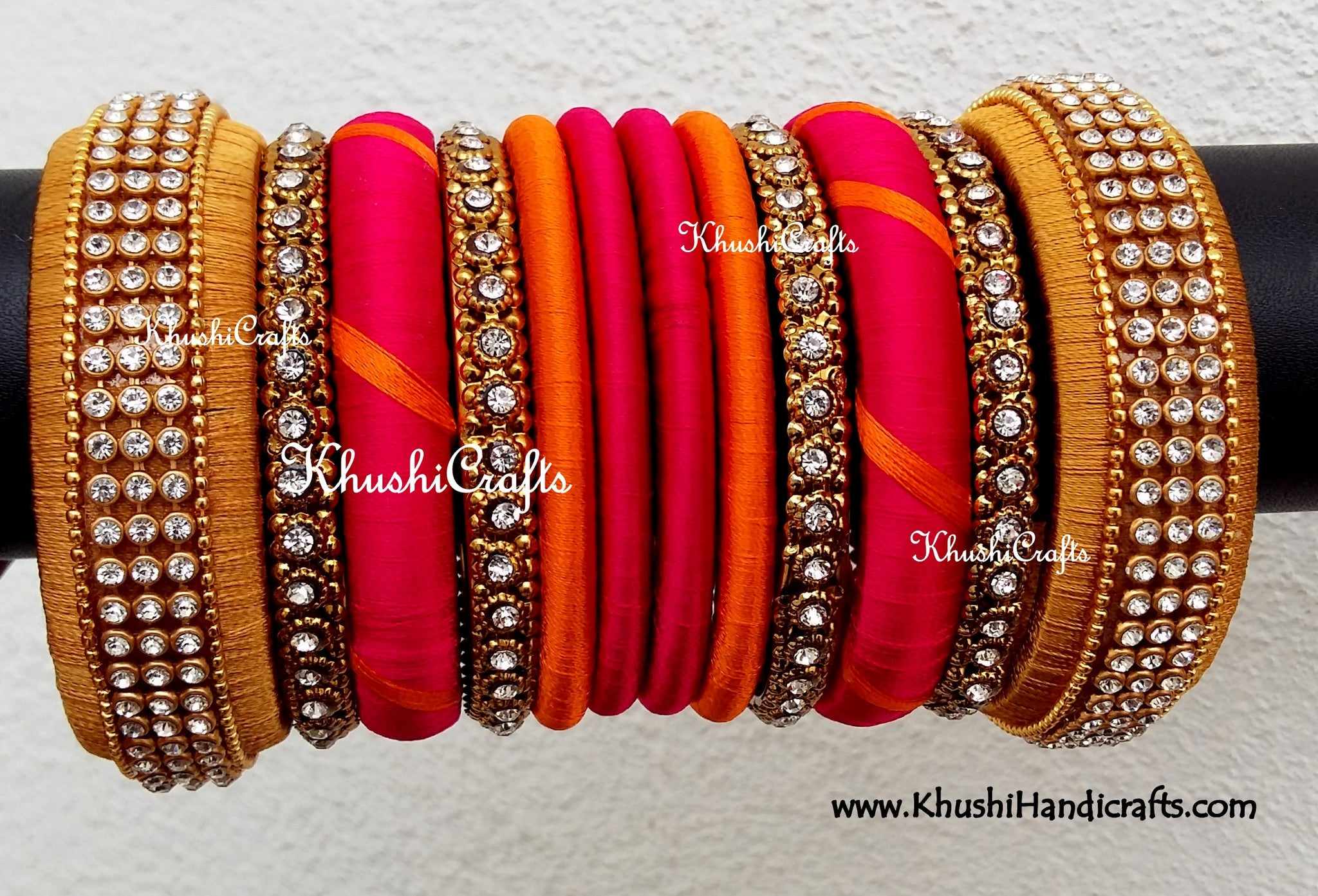 rs unique threaded orange and min bangles silk ubb ovi bridal pink