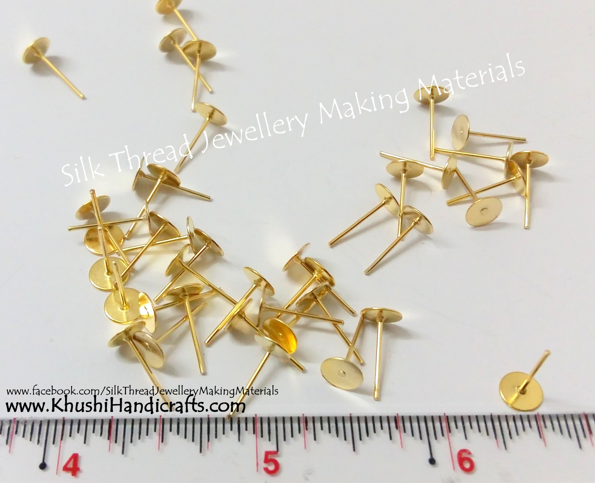 Ear post / Stud base Pack of 10 pairs in Gold and Silver - Khushi Handmade Jewellery