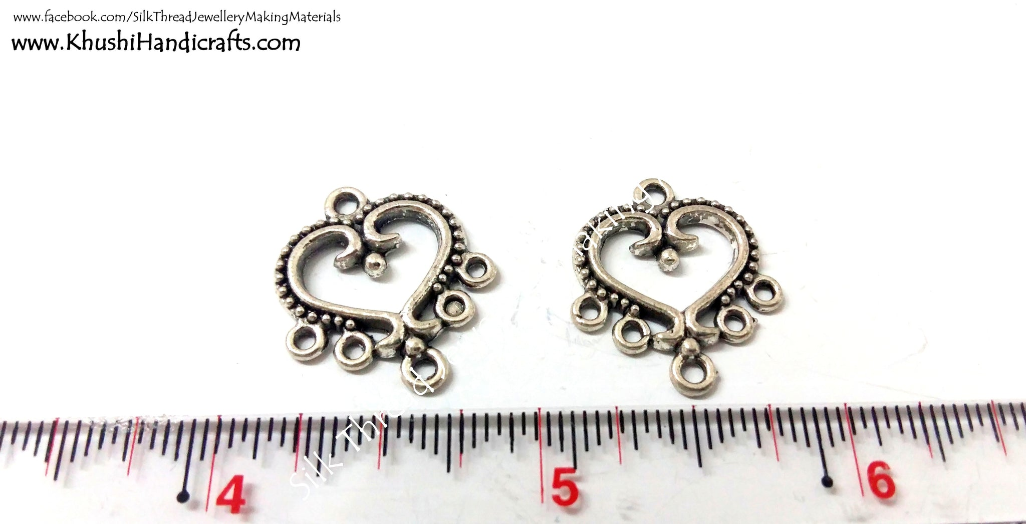 Antique Silver Heart Earring Connector / Connectors.Sold per pair! - Khushi Handmade Jewellery
