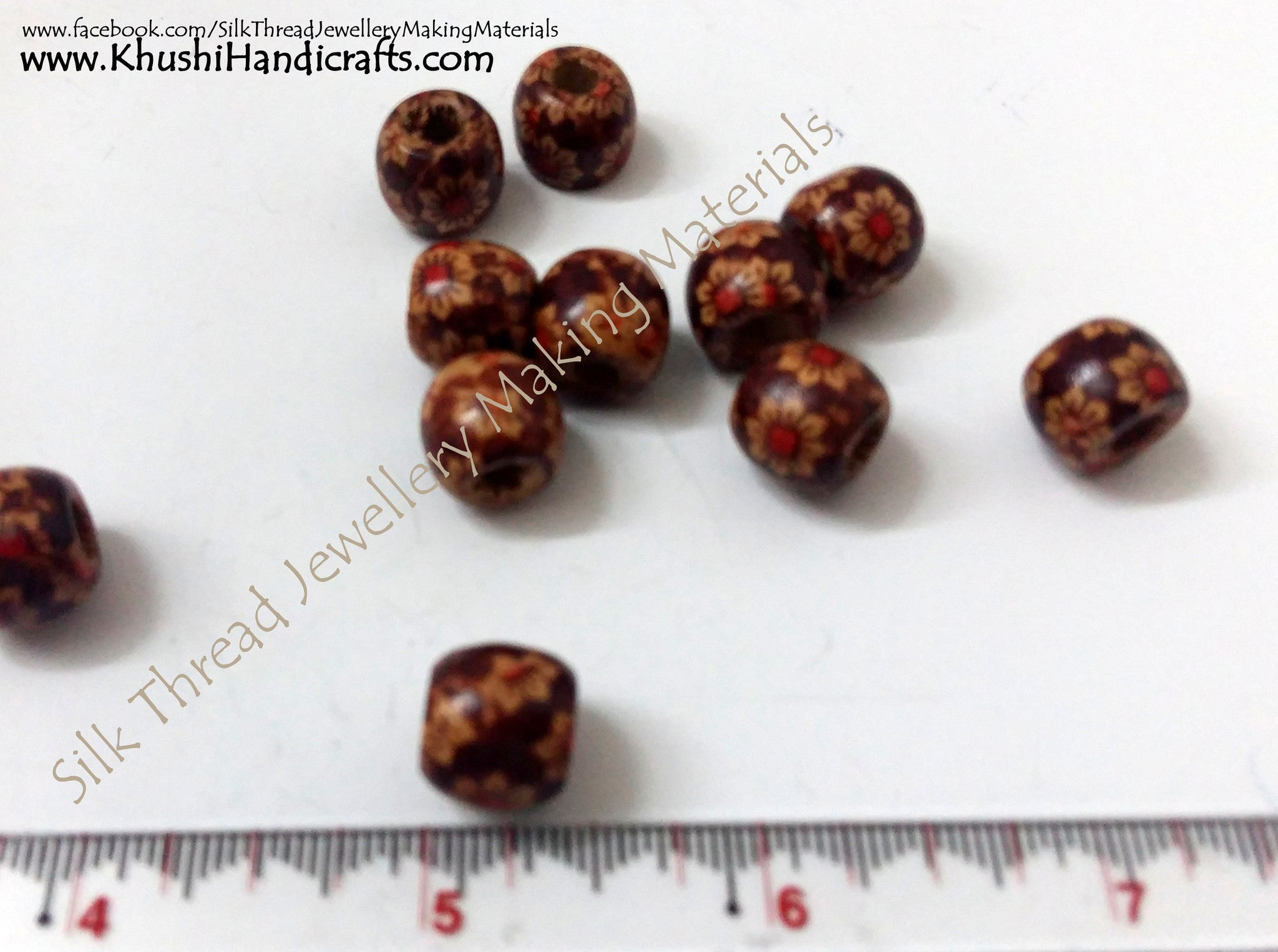Wooden 10mm beads (Pack of 20) - Khushi Handmade Jewellery